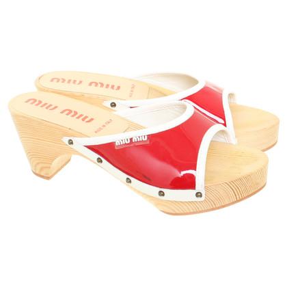 Miu Miu Red mules with wooden heel