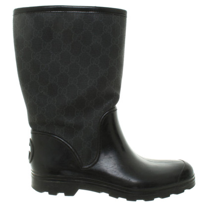 Gucci Stivali di gomma con modelli Guccissima