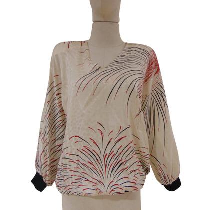 Valentino Valentino cream multi tone silk blouse