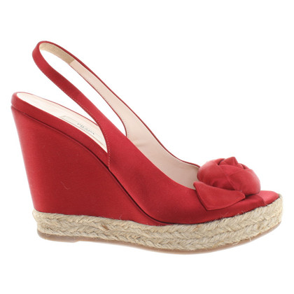 Prada Slingback-Wedges in Rot