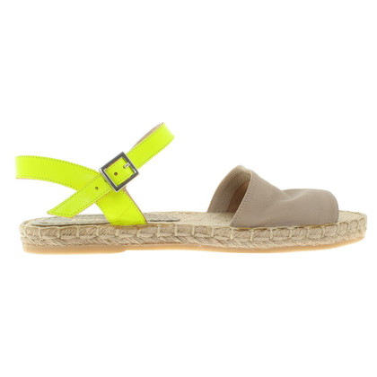 Pollini Sandals in beige / green