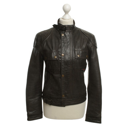 Belstaff Khaki Leather Jacket