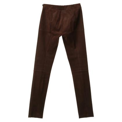 Tory Burch Lederen broek in bruin