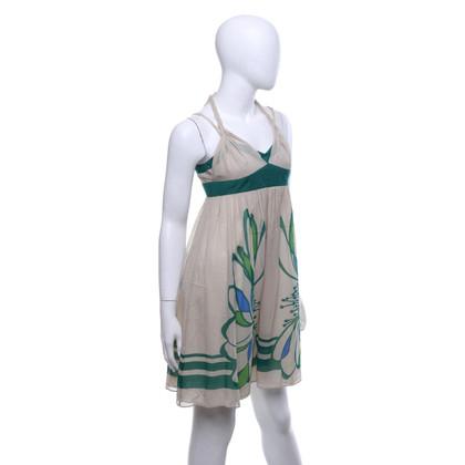 Karen Millen Silk dress in beige / green