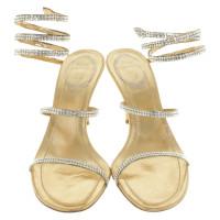 René Caovilla Golden sandals