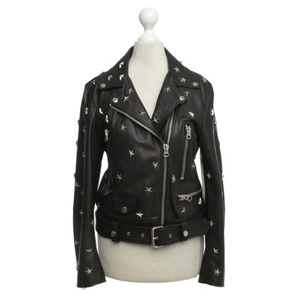 Acne Leather jacket with star applications