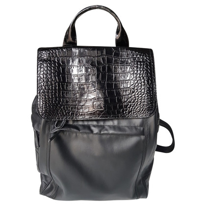 Roberto Cavalli Backpack in linen / leather