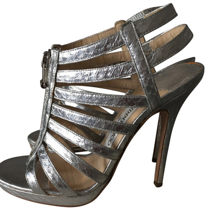Jimmy Choo Glenys Elaphe Metallic Silber
