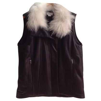 Helmut Lang Leather vest with fur trim