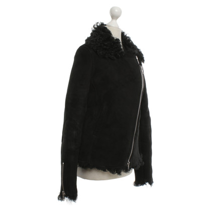 Alexander McQueen Veste d'agneau en noir