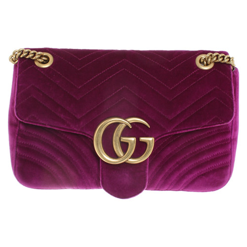 77fe04133b72 Gucci GG Marmont Flap Bag Normal in Violet - Second Hand Gucci GG ...