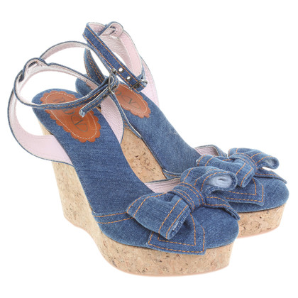 Red Valentino Wedge Sandals from denim