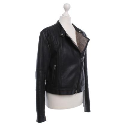 Marc Cain Leren jas in zwart