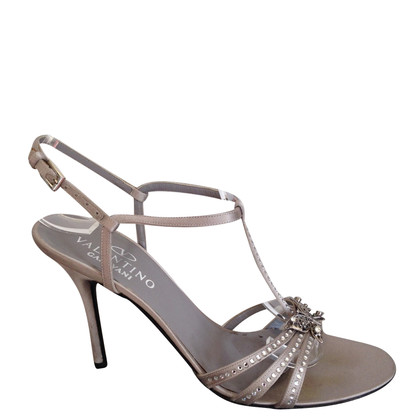 Valentino silver  strassed  T-strap high sandals