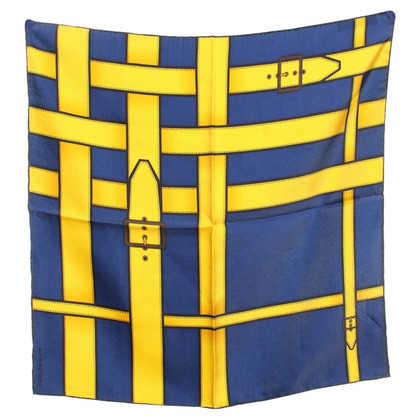 Burberry sciarpa di seta in blu / giallo