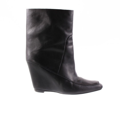 Alexander Wang Black leather ankle boots with wedge heel