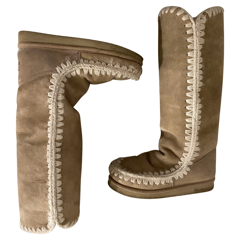 Mou Boots Suede in Beige - Second Hand