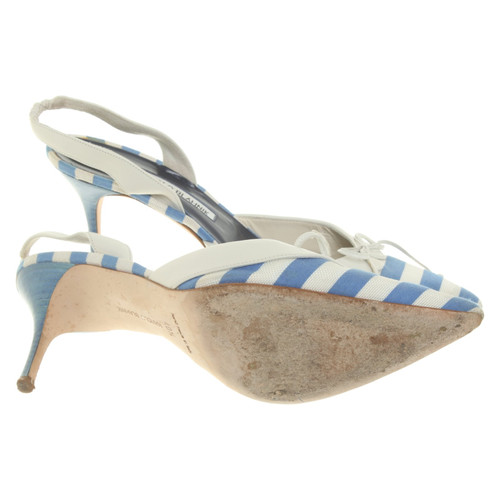 Manolo Blahnik Sandals Leather in Blue - Second Hand Manolo