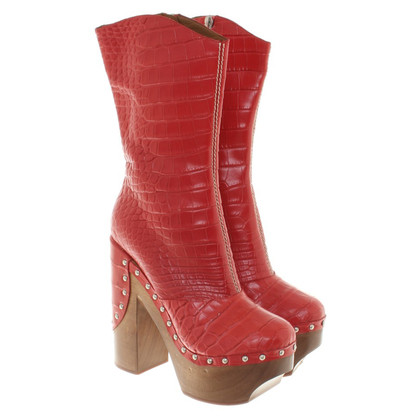 Roberto Cavalli Leather boots in red