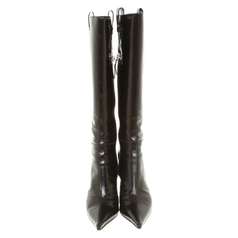 Fendi Stiefel aus Leder in Braun Second Hand Fendi Stiefel