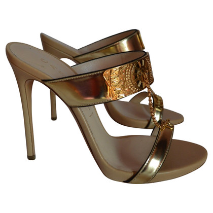 Casadei Sandals in Gold & Beige