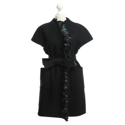 Alberta Ferretti Black coat with feather décor