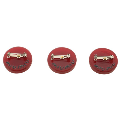 Miu Miu Drei Broschen in Rot