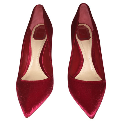 Christian Dior Rode fluwelen pumps