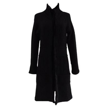 Blumarine manteau tricoté en noir