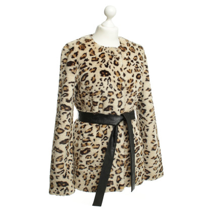 Velvet Web fur jacket with animal print
