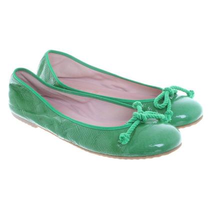 Pretty Ballerinas Ballerina in groene lakleder