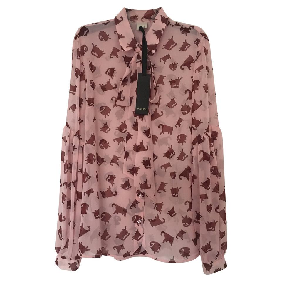 pinko bluse mit katzen print second hand pinko bluse mit. Black Bedroom Furniture Sets. Home Design Ideas
