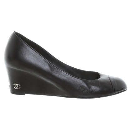 Chanel Lederen Wedges in zwart