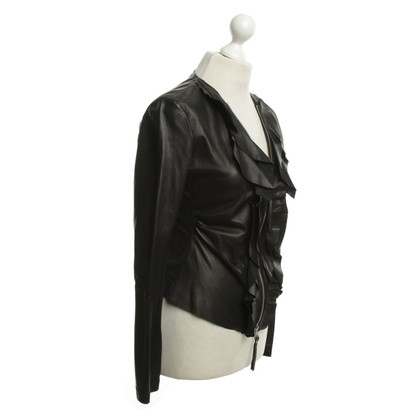Pinko Leather jacket in black with ruffles