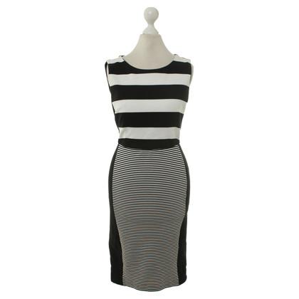 Max Mara zwart/wit gestreepte jurk