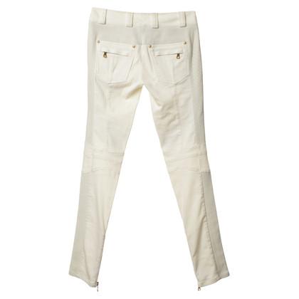 Balmain Jeans in crema con pelle inserti