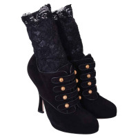 Dolce & Gabbana RUNWAY Baroque Suede Ankle Boots