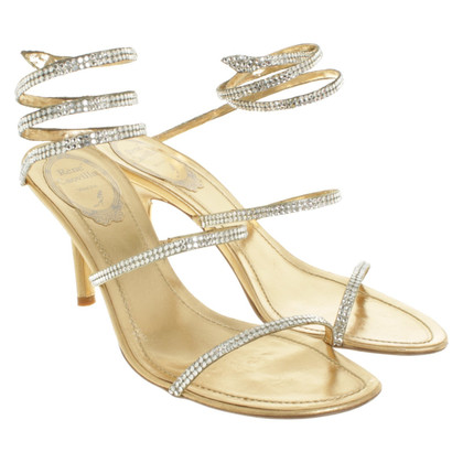 René Caovilla Golden sandals