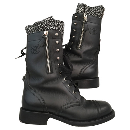 Chanel Black Leren boots