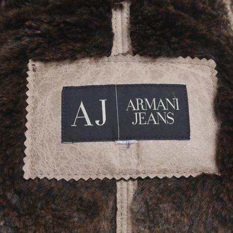 Armani mit Jeans Armani Fellimitat Jacke Beige Jeans 7wqPFq