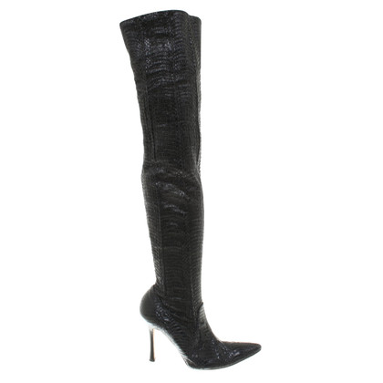 Manolo Blahnik Overknees made of python leather