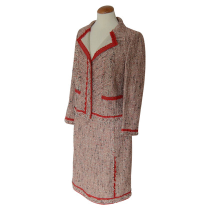 Prada red mottled tweed costume