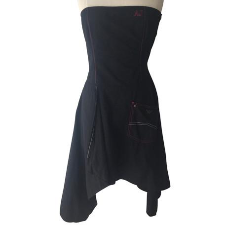 Armani Jeans Tr盲gerloses Kleid Schwarz