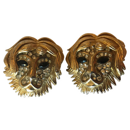 Yves Saint Laurent YSL ear clips lion masks vintage