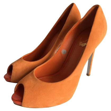 René Caovilla Peeptoes in Orange