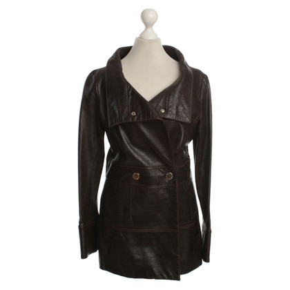 Carolina Herrera Leather jacket with reptile embossing