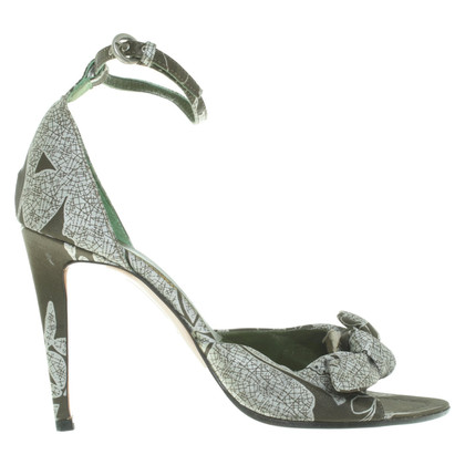 Miu Miu Satin sandals in green / white