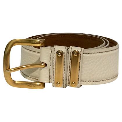 Prada Cintura in pelle color bianco crema