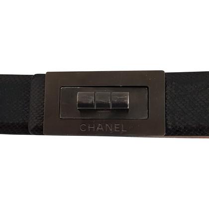 Chanel Python belt with Mademoiselle Lock