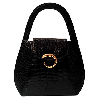 Cartier Zwart glanzende krokodil handtas